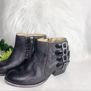 H by Hudson Black Leather booties made in Portugal